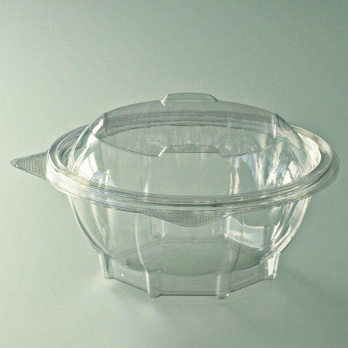 Barquette salade ronde cristal avec couvercle attenant déchirable