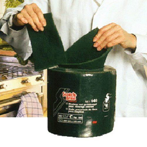 Tampons pré-découpés Scotch Brite vert 3M en rouleau